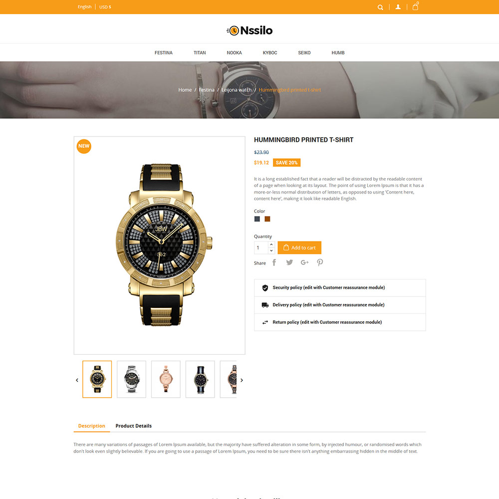 Free Prestashop Themes]Fashion - Watches Accessories Prestashop