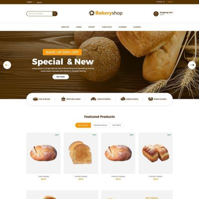 Bakery food bread prestashop theme