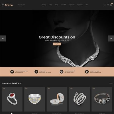 Jewellery Diamond Gold Silver - Luxury Store Template