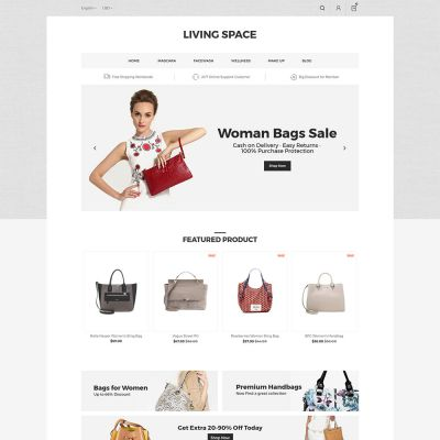 Living Space - Furniture Interior Wooden Magento 2.3 Theme  Bag store