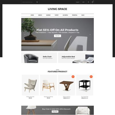 Living Space - Furniture Interior Wooden Magento 2.3 Theme  Furniture store