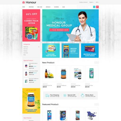 Honour - Multipurpose Responsive Magento2 Theme | Medicine Store
