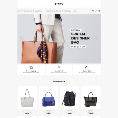Tizzy - Multipurpose Responsive Magento2 Theme | bag Store