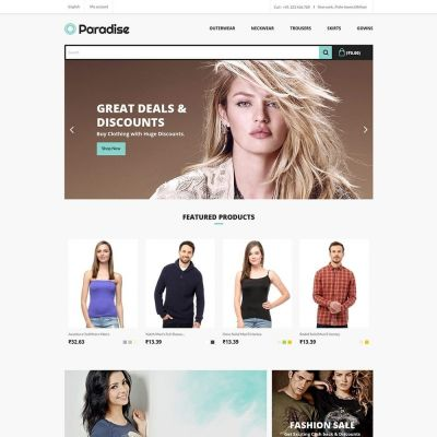 Paradise fashion cloth prestashop theme