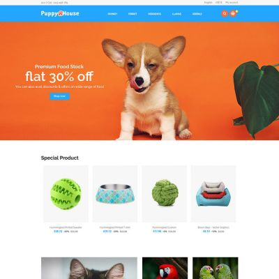 Puppy Pet Care - Animal Cat Nutrition Store Template