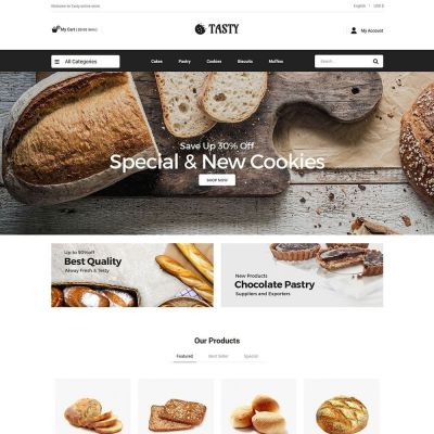 Tasty food bakery pizza prestashop theme