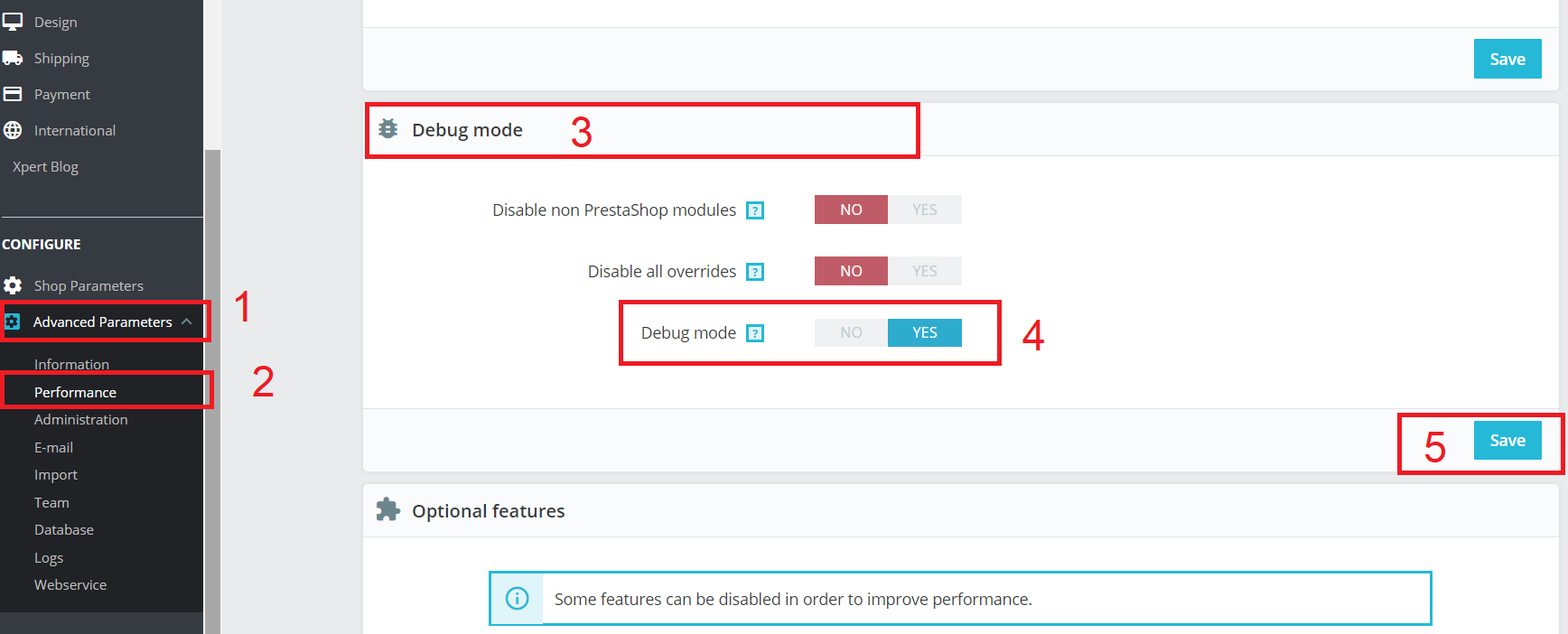 How to enable Debug mode in Prestashop 1.7?